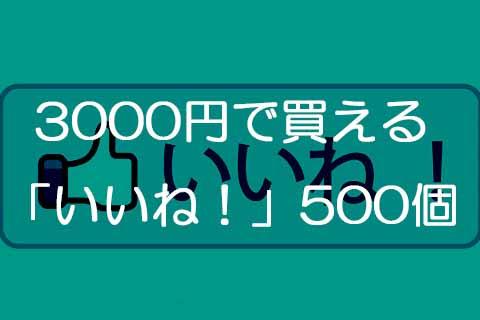 3000円で買える「いいね!」500個