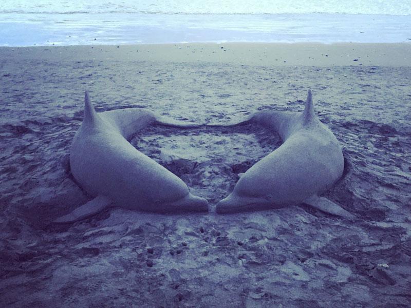 江ノ島に【砂イルカ】が漂着?本物そっくりサンドアート