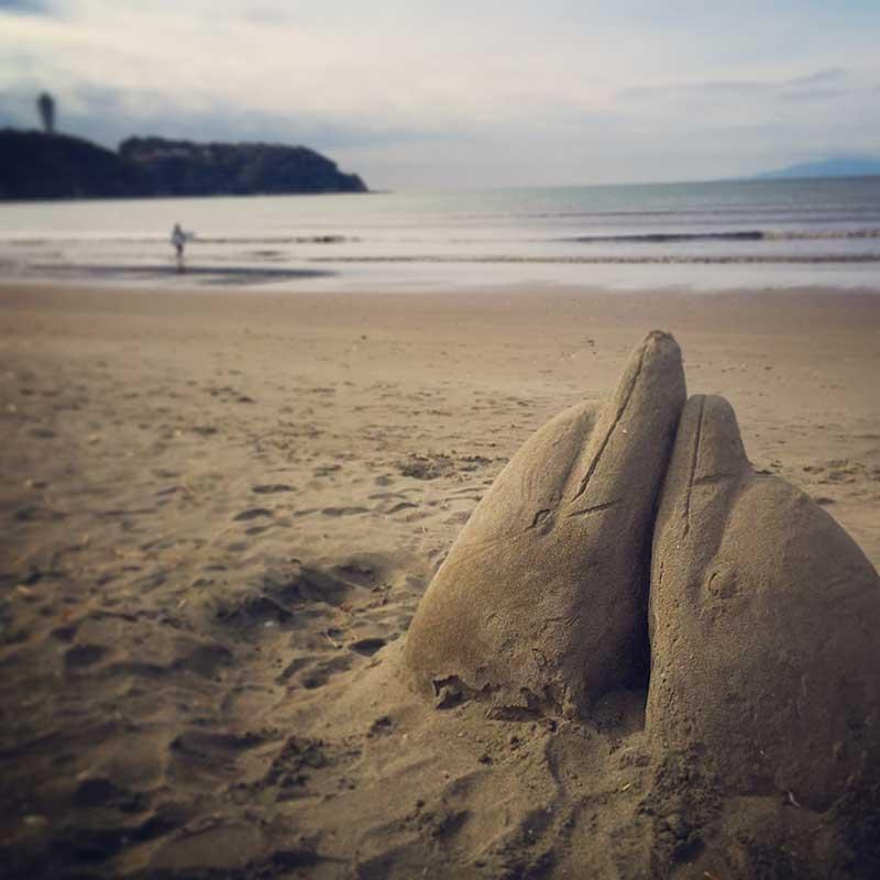 砂イルカと江ノ島