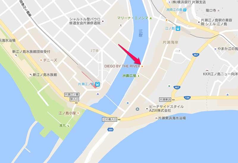 江ノ島で深夜営業バー「LAWDYBLUE」の場所
