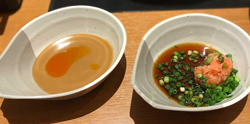 タレはゴマとポン酢系の2種類