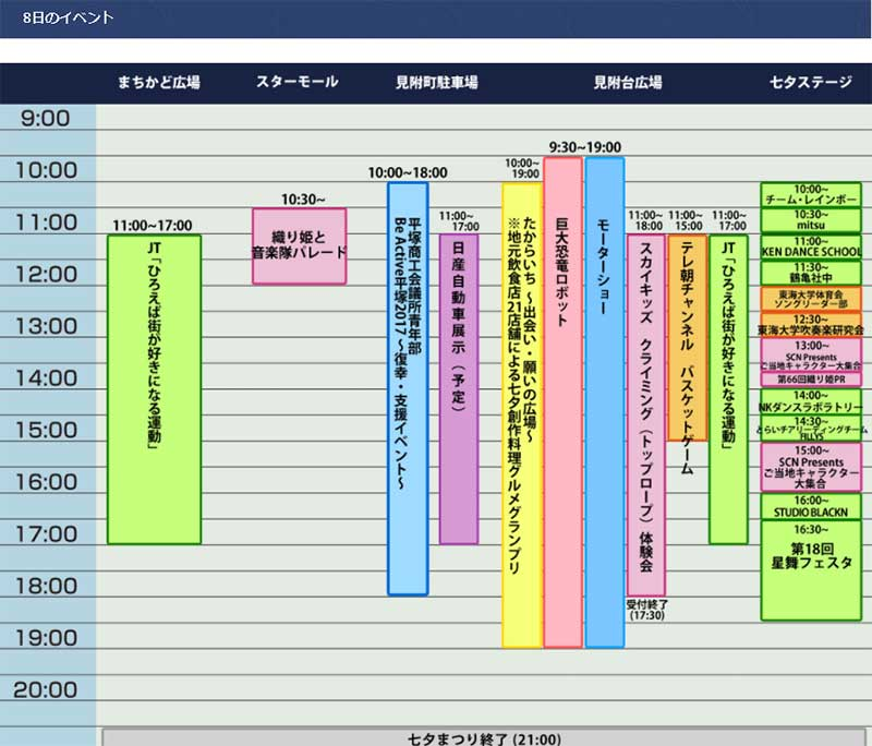 平塚七夕まつり8日(土)のイベント