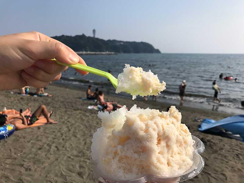 奇跡のカキ氷が売っているのは西浜