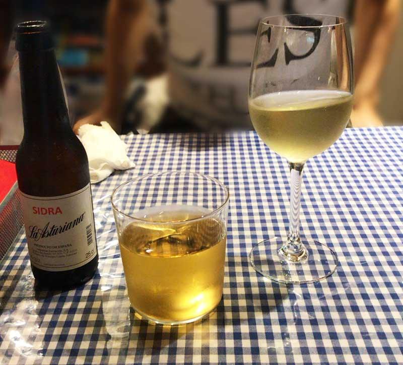 おすすめの白ワインとシードル