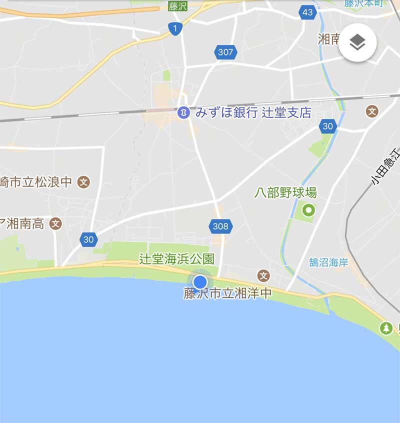 辻堂海浜公園前の海岸