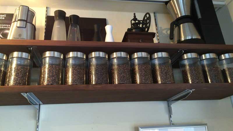 世界中のコーヒー豆がずらり