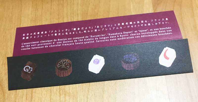 5種類のチョコの解説