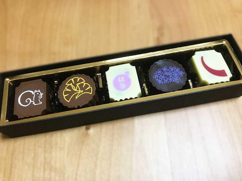 5種類のチョコレート