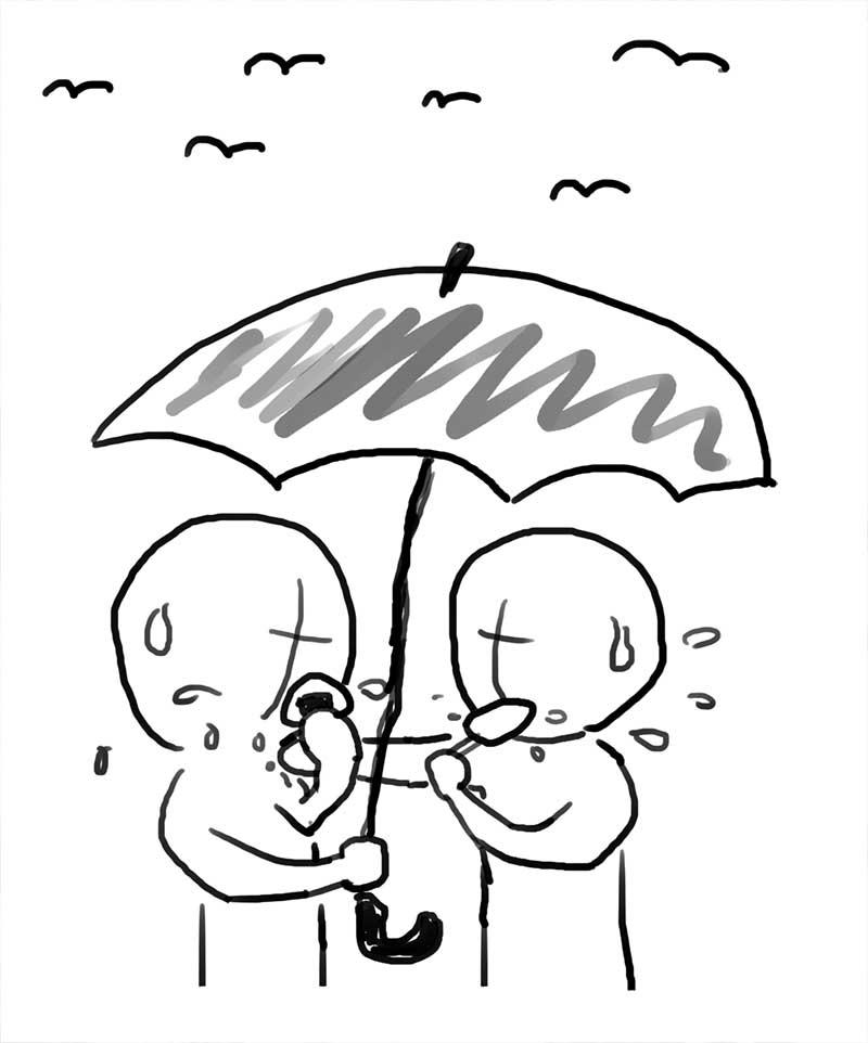 鳶対策で、傘に隠れてこっそりガツガツ食べる!