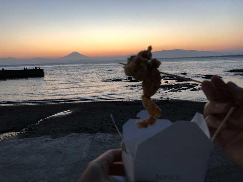 富士を見ながら食べるせせり