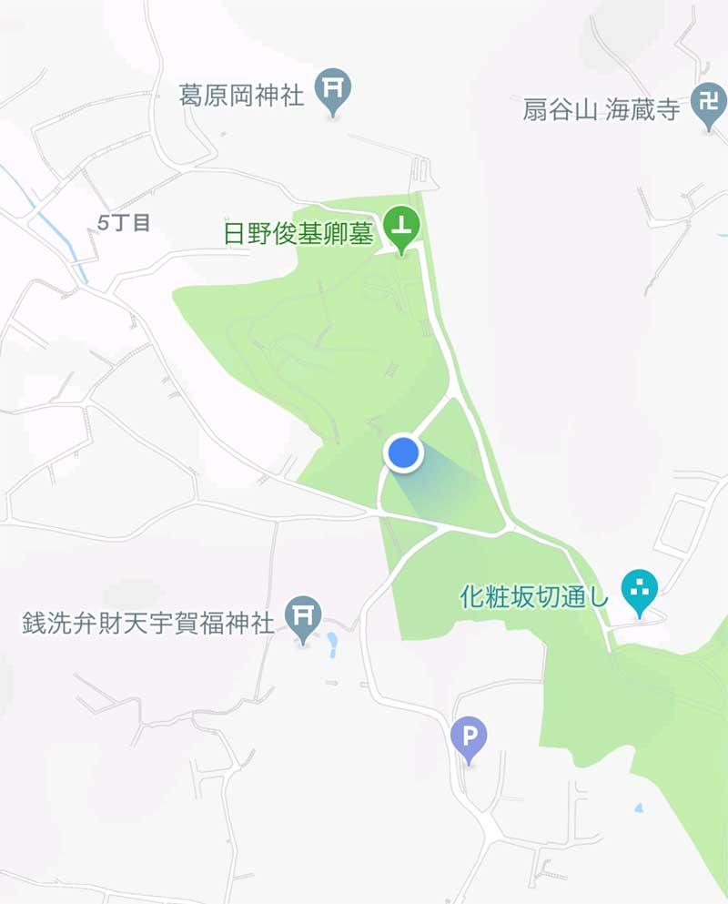 源氏山公園の海見え花火鑑賞スポットの場所