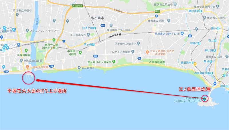 西浦から見た平塚花火大会の打ち上げ会場