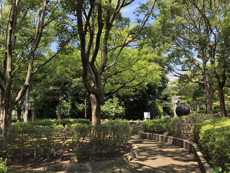 まわりは緑が多い公園