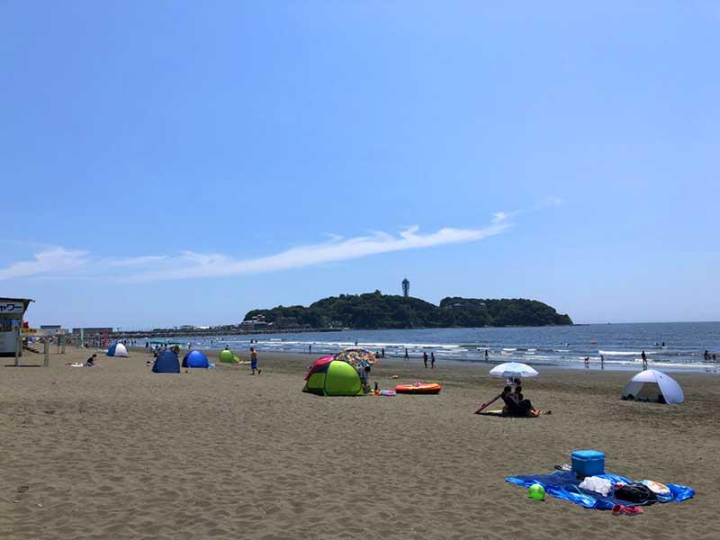 8月の片瀬西浜海水浴場