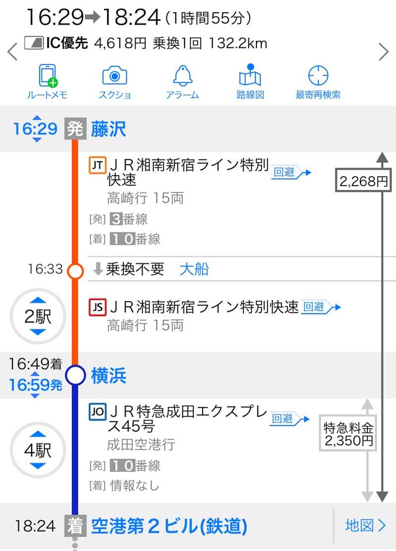 藤沢駅から成田空港まで成田エクスプレスルート