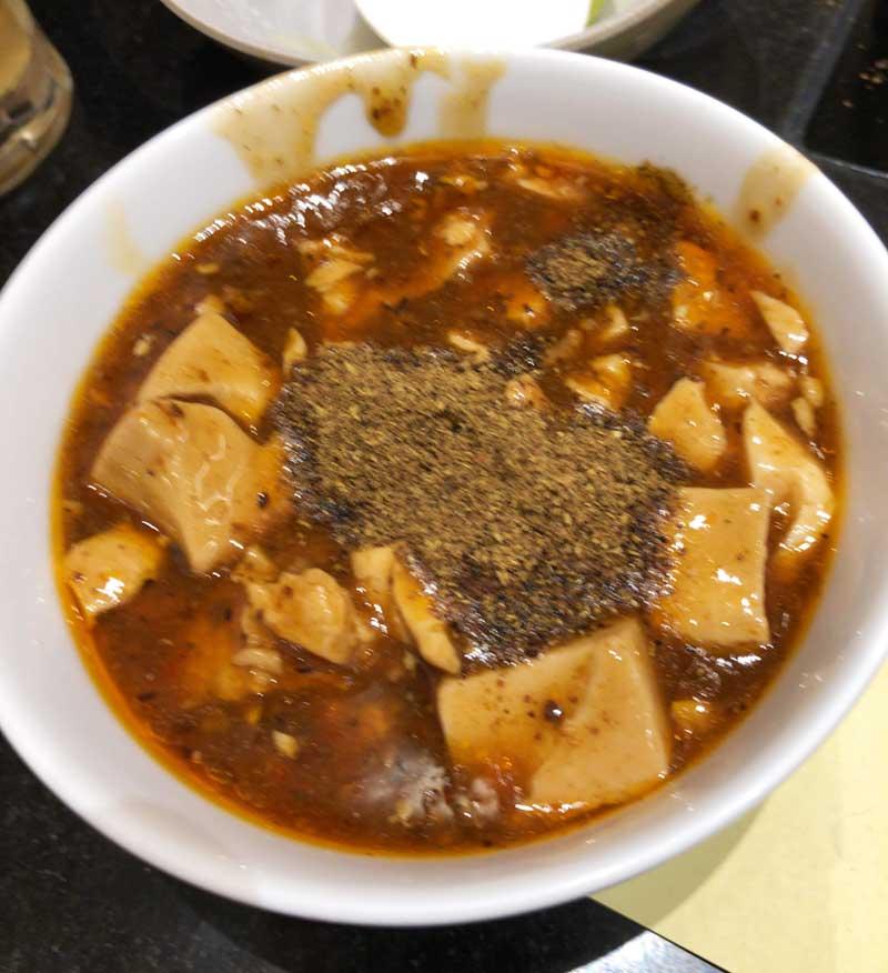 麻婆豆腐はたっぷり山椒をかけて