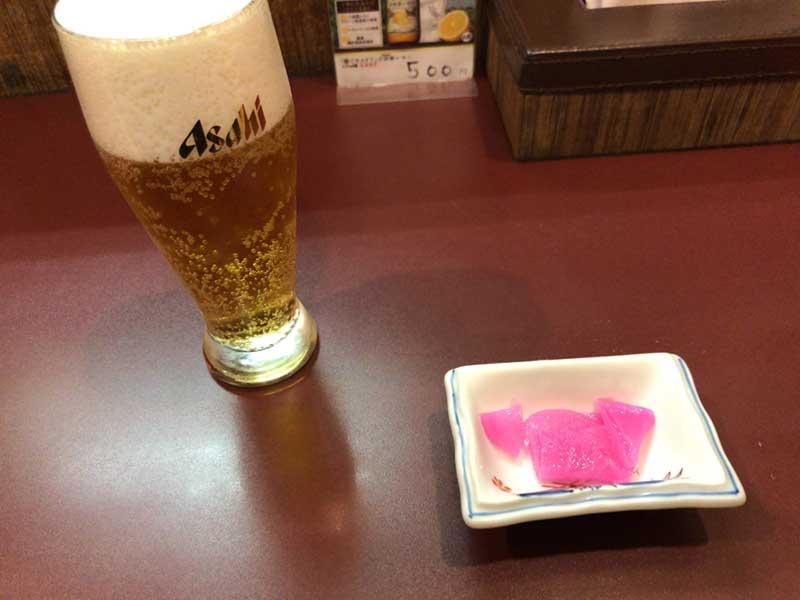 ビールとお通しのお新香