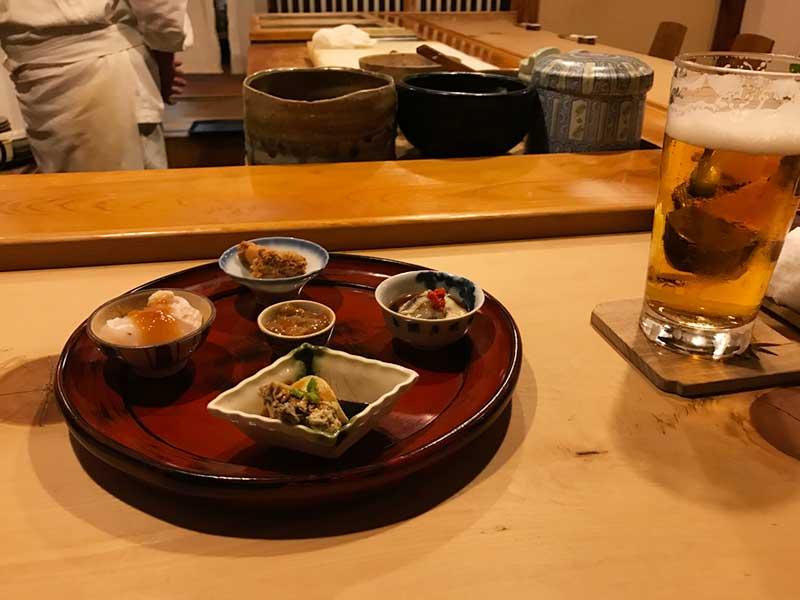 ビールと小鉢料理