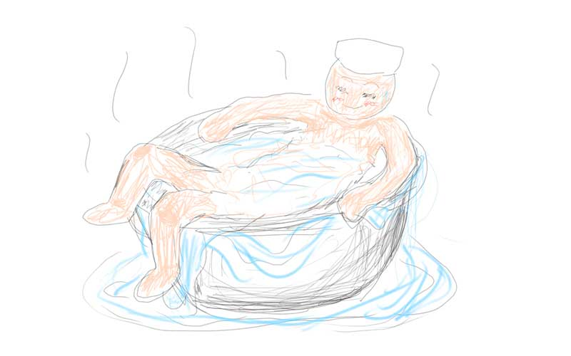 1人でゆったりくつろげる壺湯