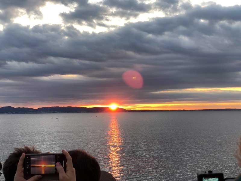 2019年の初日の出は江ノ島ヨットハーバー湘南港で迎えました