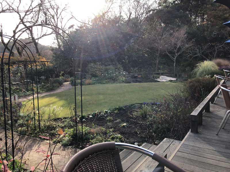 テラス席から庭を眺めてゆったりくつろげる