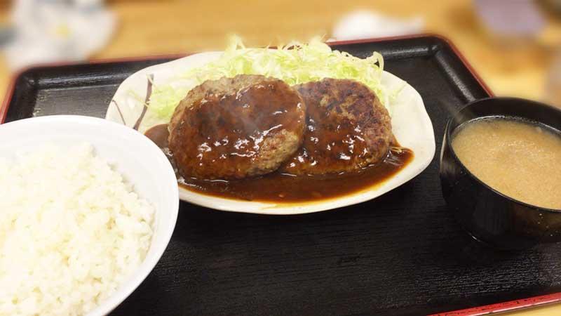 激安食堂小林屋のダブルハンバーグ定食630円