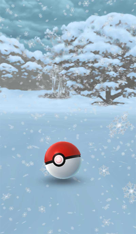 背景が雪の画像に変わっている