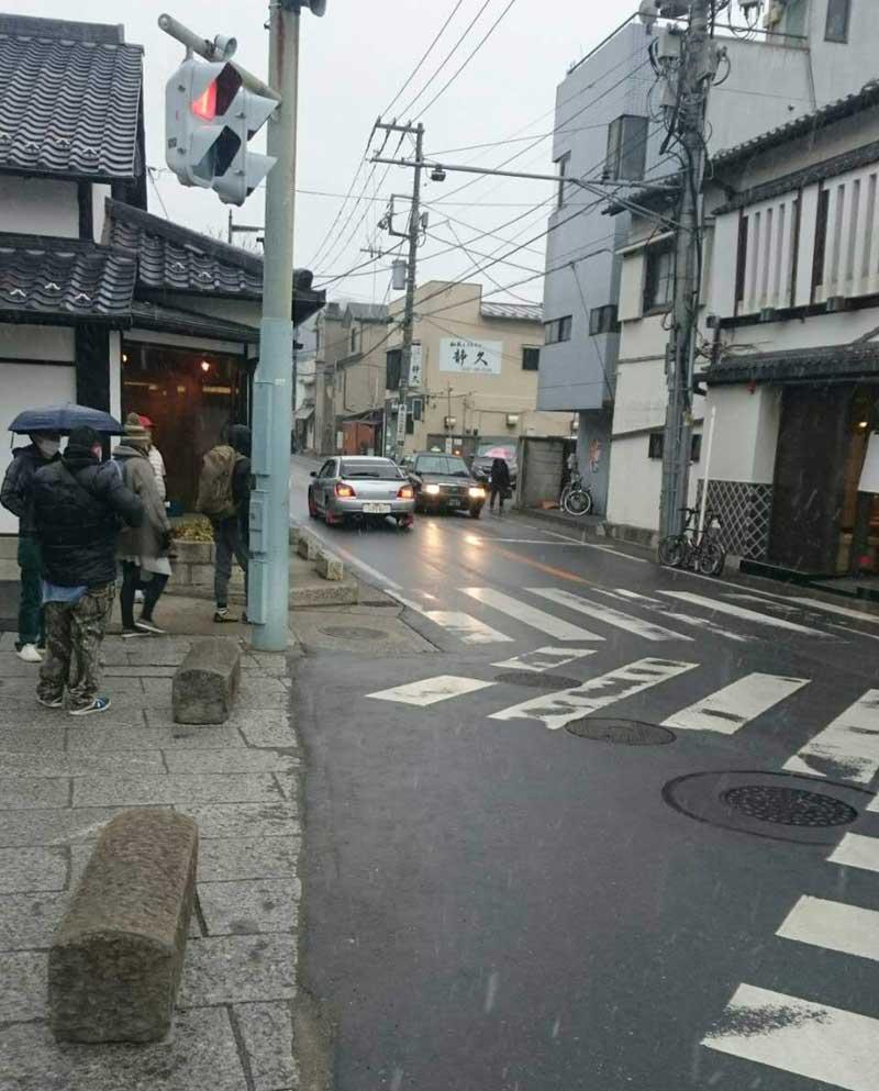 雪が降る2月上旬の鎌倉