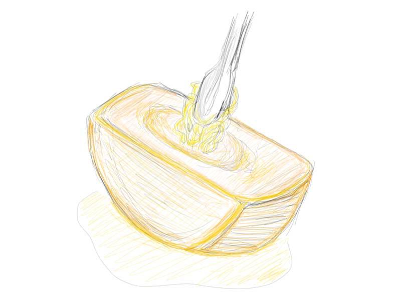 塊のチーズに熱々パスタを絡める