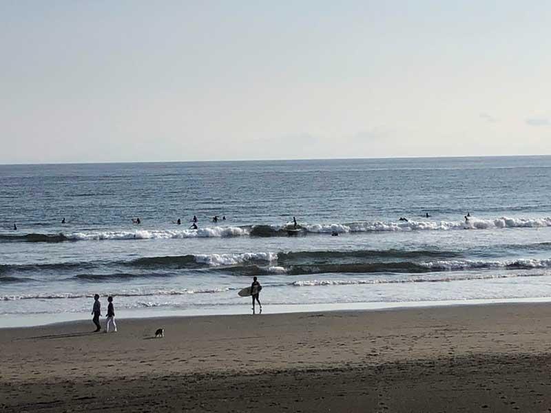 サーファーが多い鵠沼海岸