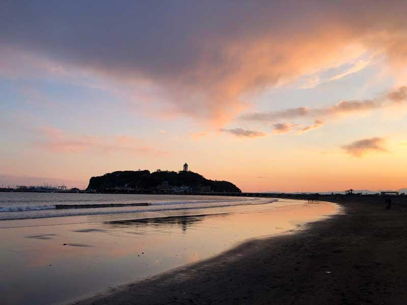 片瀬海岸東浜の夕焼け