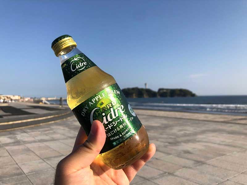江ノ島を見ながらシードルで乾杯