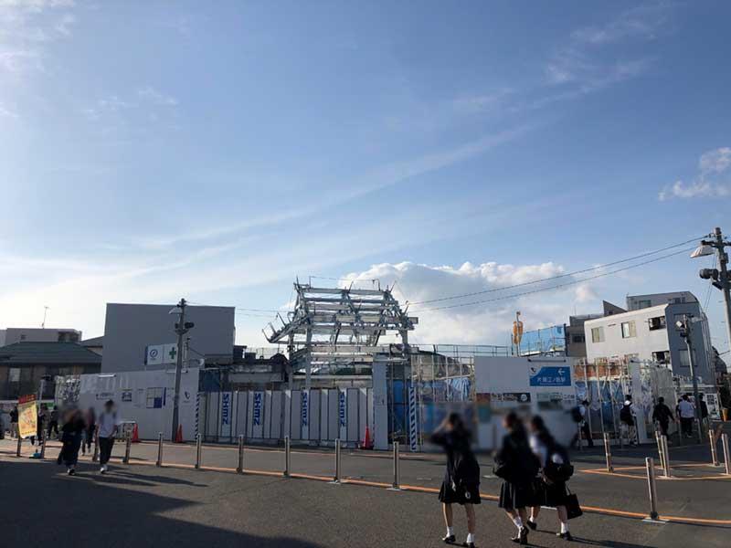 改装工事中の小田急線片瀬江ノ島駅