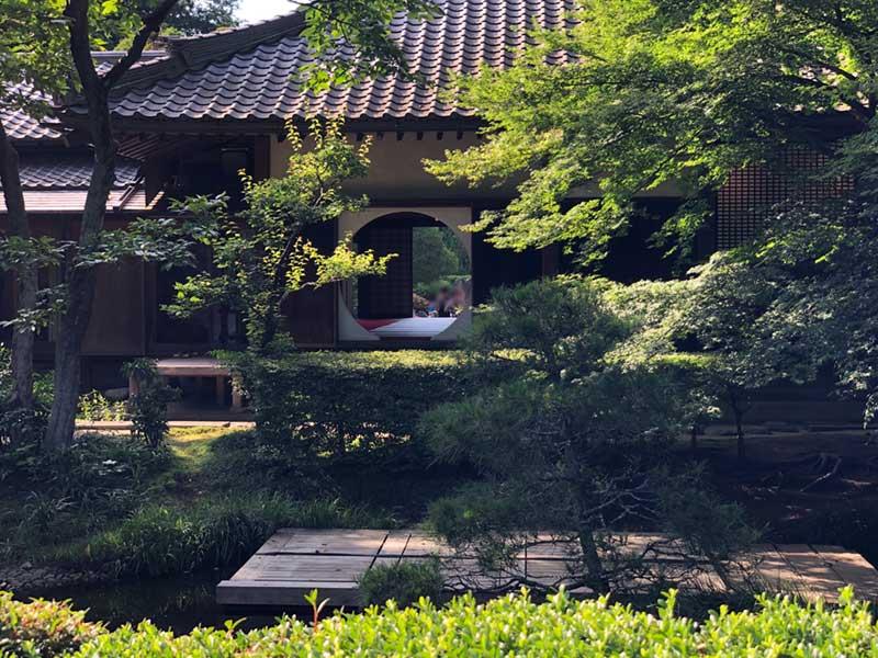 悟りの窓の向こう側の庭園