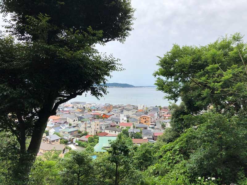 斜面から鎌倉の海が見える