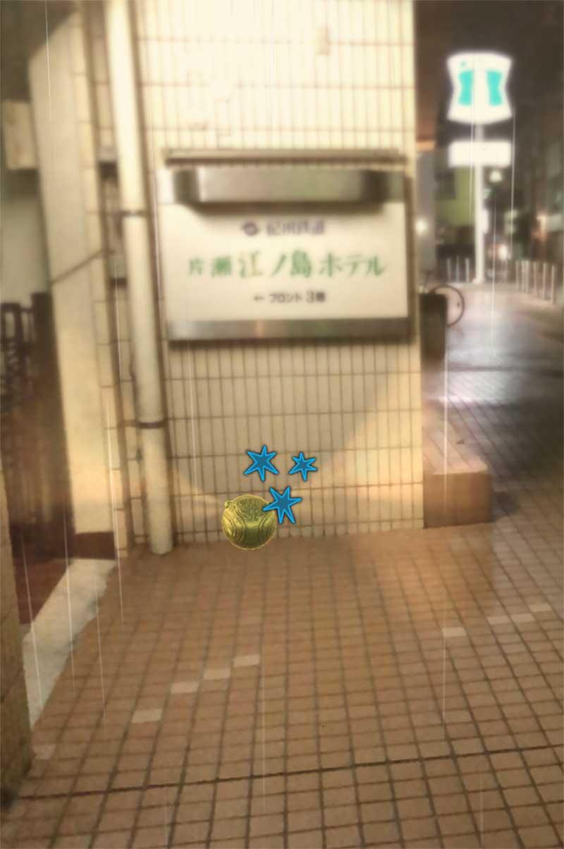 片瀬江ノ島ホテルの前で金のスニッチを見つけた!