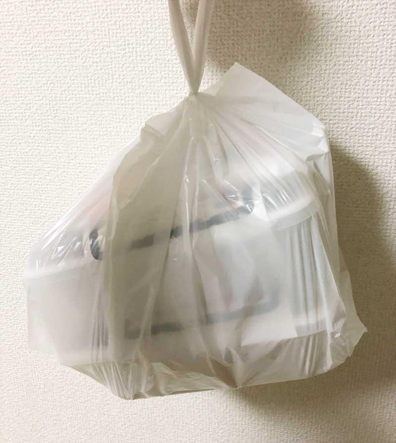袋とお弁当箱で密閉されて蒸らされる