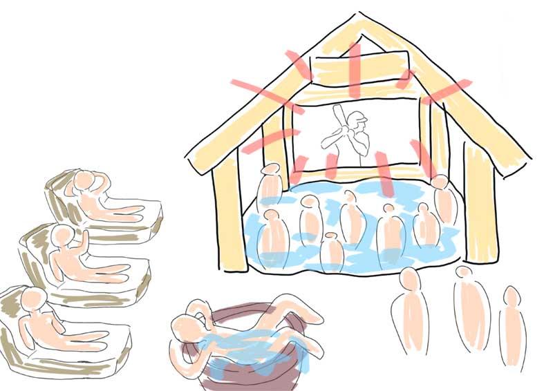 露天風呂で甲子園観戦