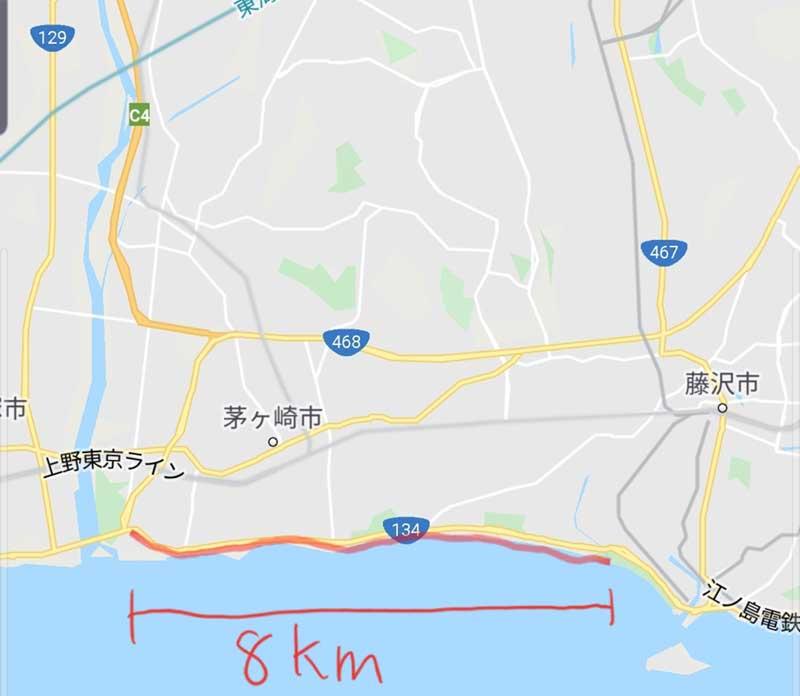 茅ヶ崎柳島海岸から鵠沼海岸のサイクリング・ランニングコース