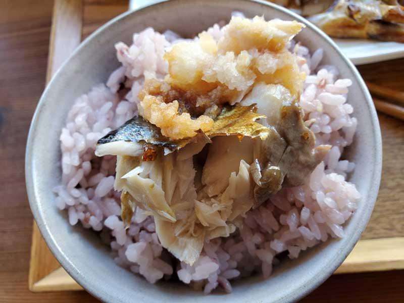 五穀米にドンと鯖をのせてもOK