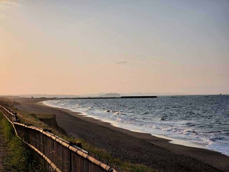 江ノ島方面へ海沿い8kmのコース