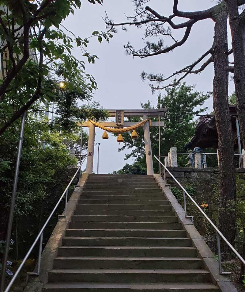 階段を上って鳥居をくぐる