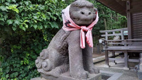 【腰越・小動神社の見所3つ】赤いほっかむりの狛犬・紫陽花・幕末の展望台!