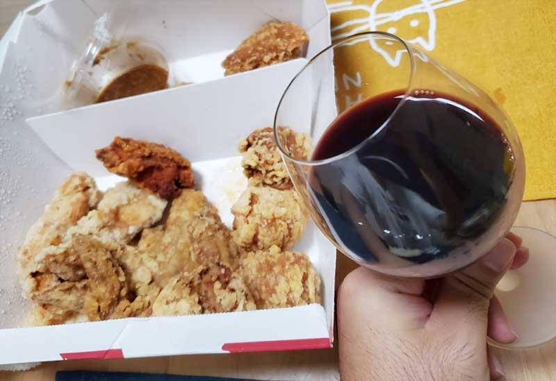 唐揚げとワイン