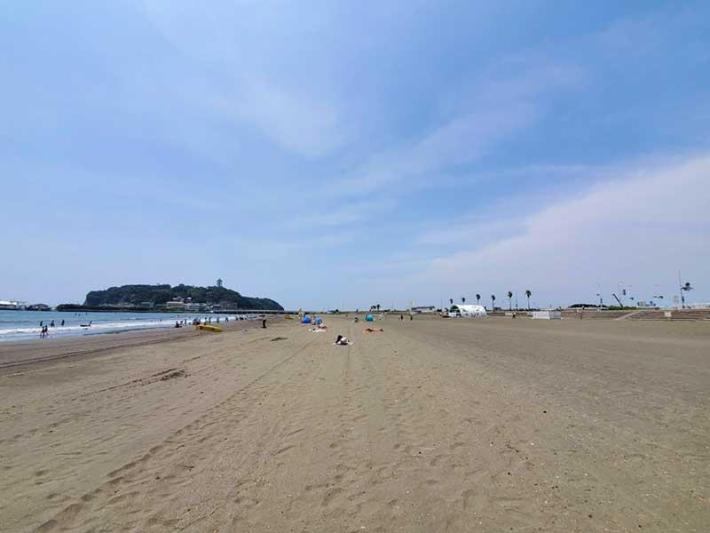 2020年8月7日の片瀬海岸東浜の様子