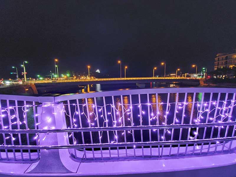 弁天橋から江ノ島シーキャンドルも見える