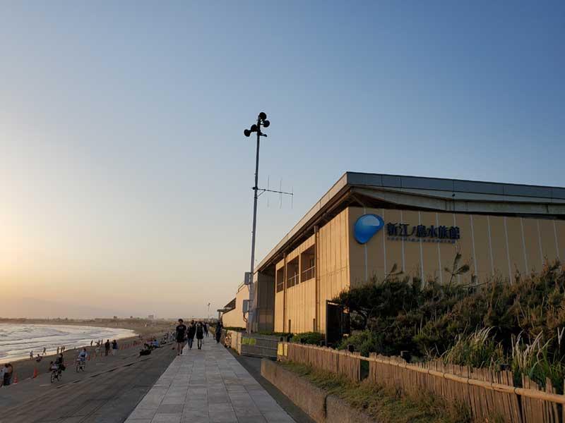夕日スポットのえのすいの裏の海岸