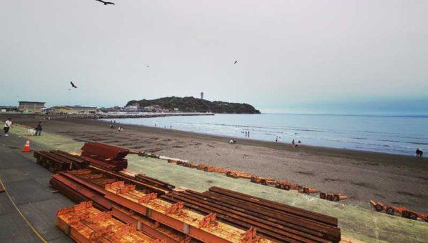 【2021江ノ島海水浴場】コロナ禍でも海の家工事開始!海開き7月3日か?5月末に正式決定!